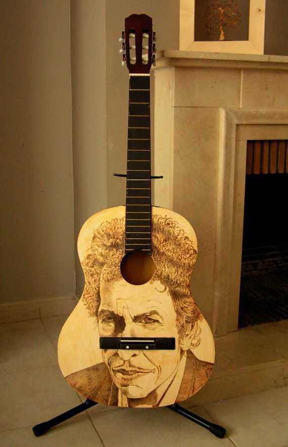 Guitar Painted. Pyrography. Acoustic guitar. Bob by DelpuebloArt