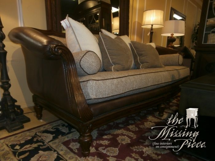 Sorrento Classic Single Seat Sofa With Shaped Back And Wood Base By  Thomasville Done In