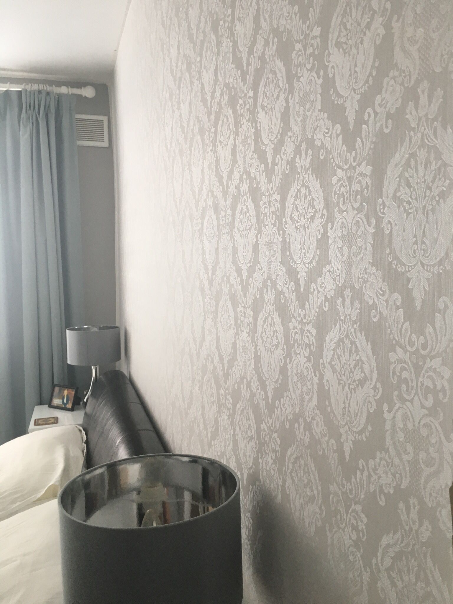 My Bedroom Wallpaper Damask Ivory Coupled With Dulux