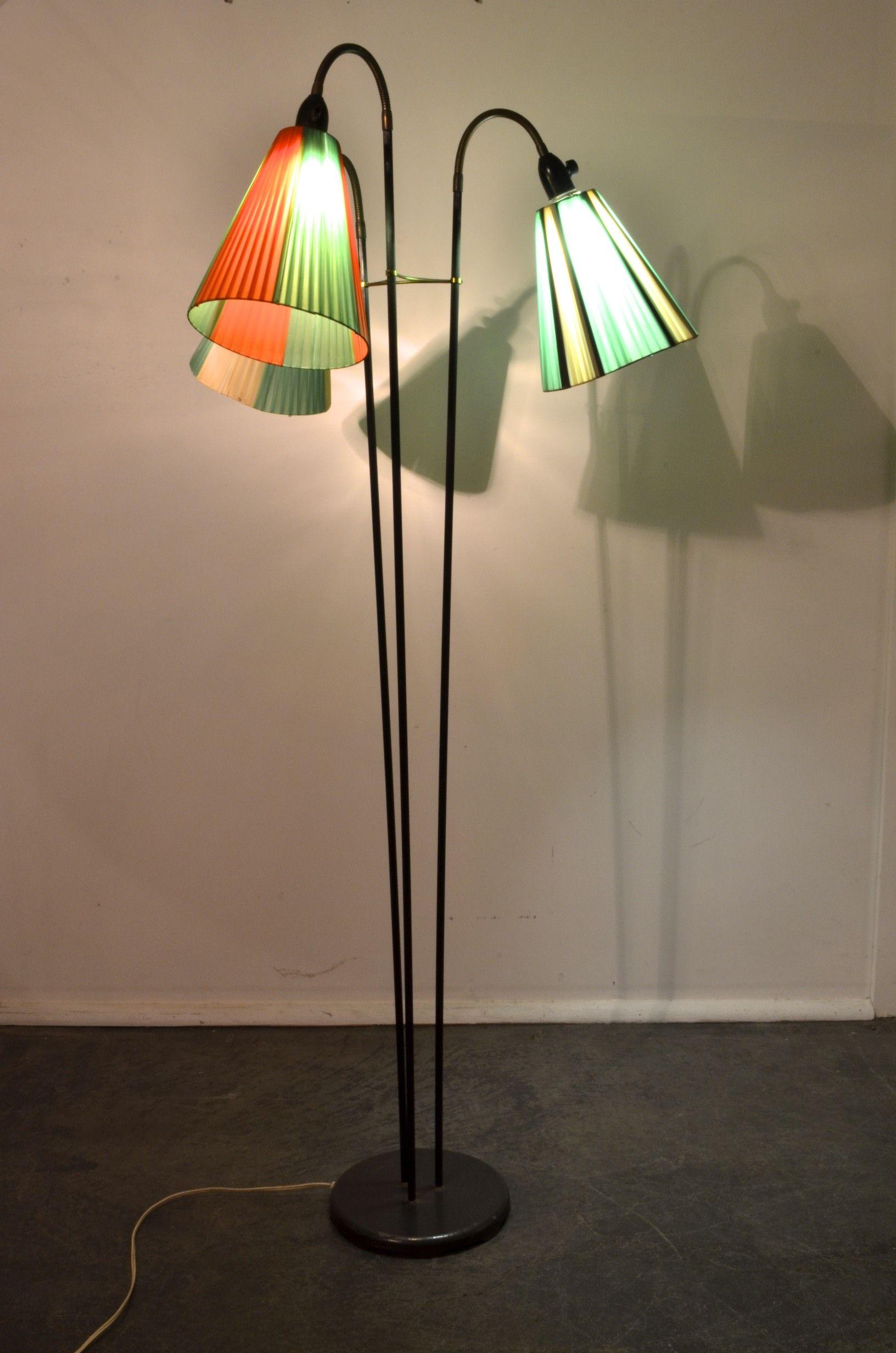 Steel Plastic Ribbon Shade Floor Lamp Dutch Design 1950 S Sold