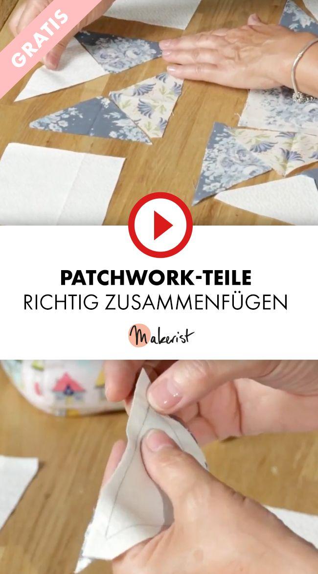 Patchwork-Teile richtig zusammenfügen - Makerist auf Youtube ...