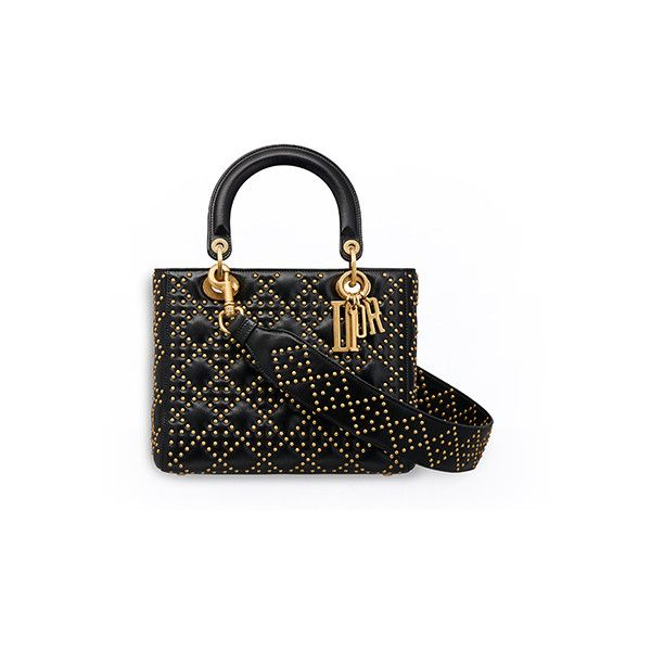 SUPPLE LADY DIOR BAG IN STUDDED BLACK CALFSKIN ❤ liked on Polyvore featuring bags, handbags, studded purse, calfskin handbag, calfskin leather handbags, studded handbags and calfskin bag