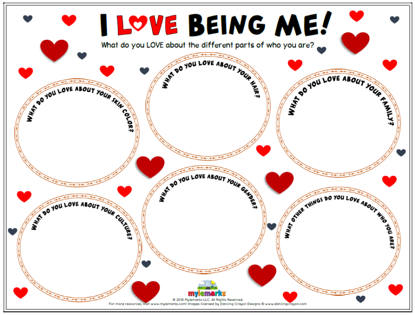 Teach kids to love themselves with this helpful worksheet