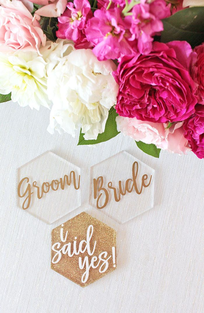 Laser Cut Bride and Groom Escort Cards | http://heyweddinglady.com/styling-glitter-glam-engagement-party-cricut-sponsored/
