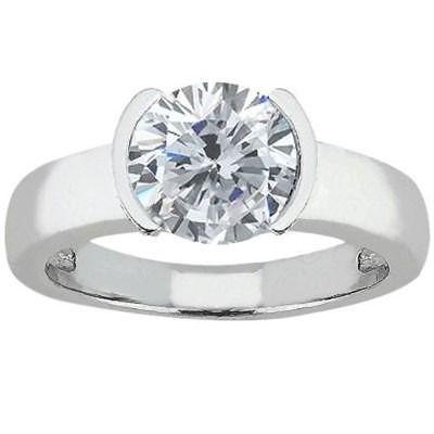 Solitario Ouro Branco E 19 Pontos De Diamante Anel Solitario