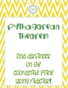 Pythagorean Theorem Worksheet   Find Distances On The Co  Math