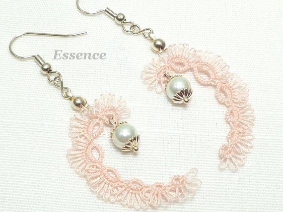 Tatted lace Earrings in pink with glass pearls