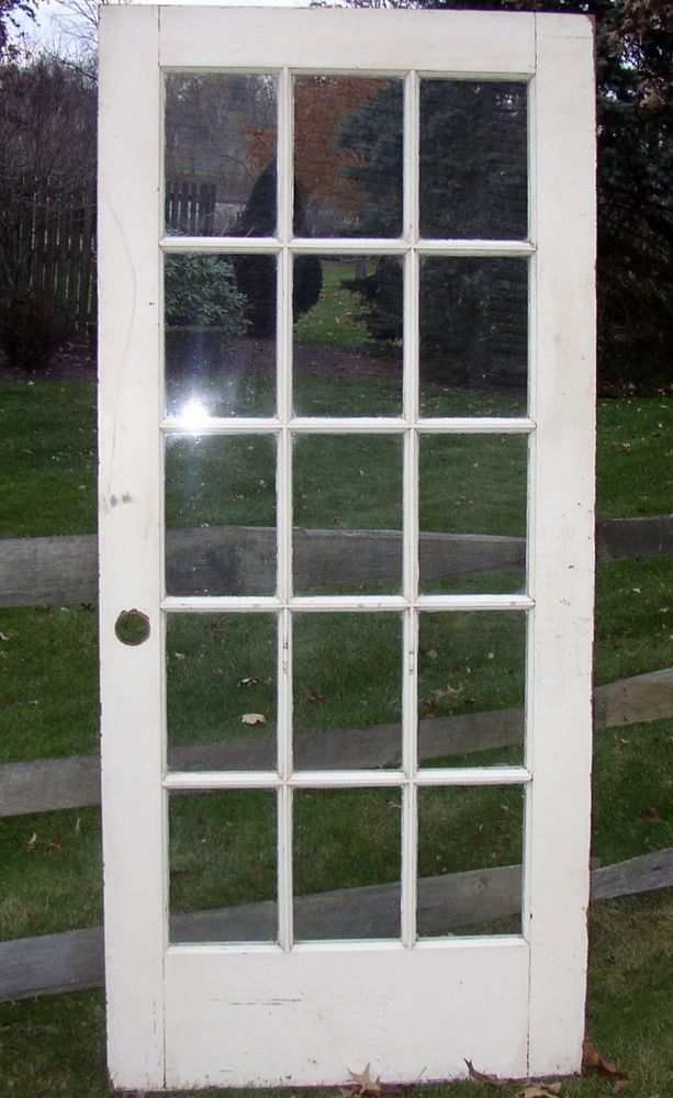 1920s Antique 15 Lite Entry Door French Door White 80x36 All