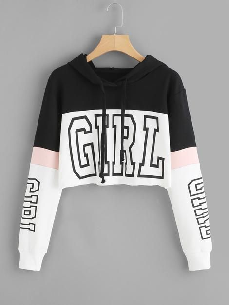 Girl Print Color Block Hoodie #adidasclothes