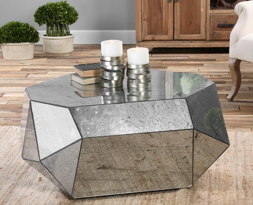 Superior Special Form Mirrored Coffee Table