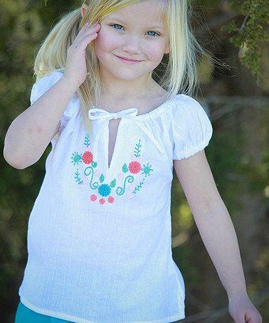 Look at this #zulilyfind! White & Aqua Embroidered Peasant Top - Infant, Toddler & Girls by Little Cotton Dress #zulilyfinds