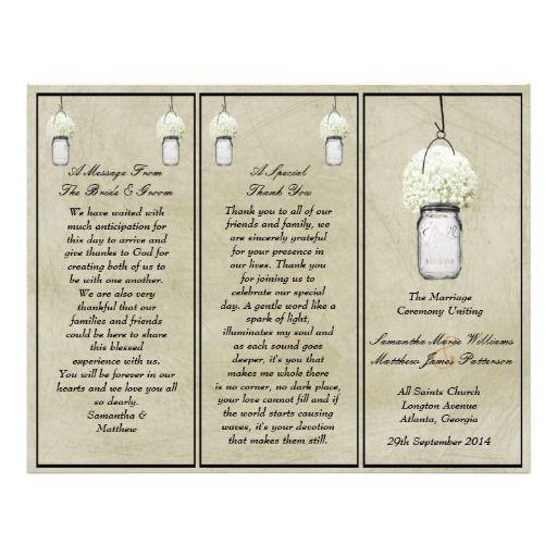 Rustic Baby's Breath & Mason Jar Wedding Programs