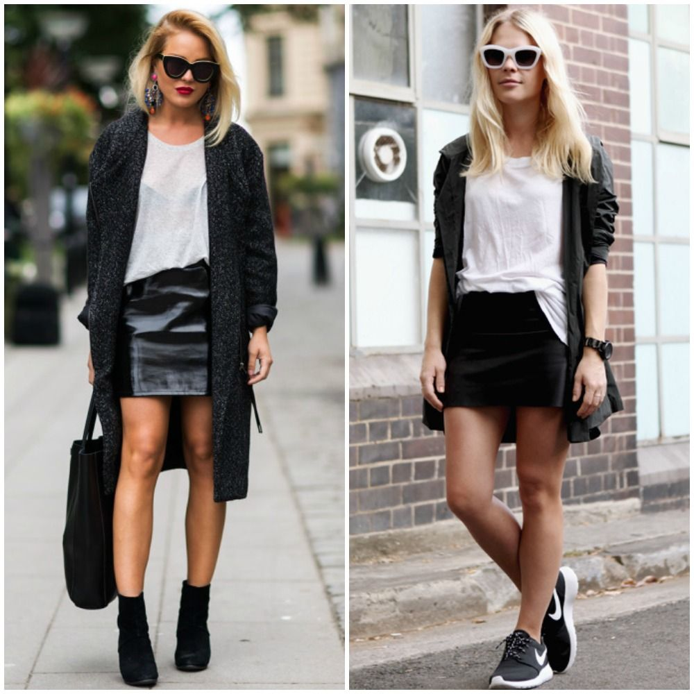 fall 2014 trends - black leather mini skirt outfit street style ...