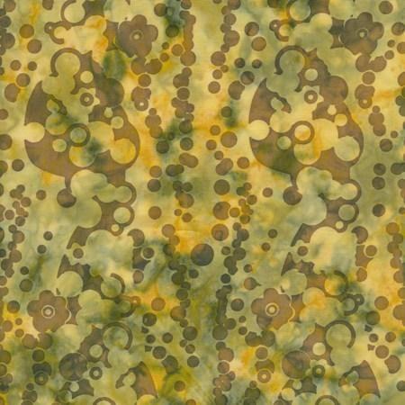 Island Batik Hand Printed Cotton - Agave Gold SP11-F1