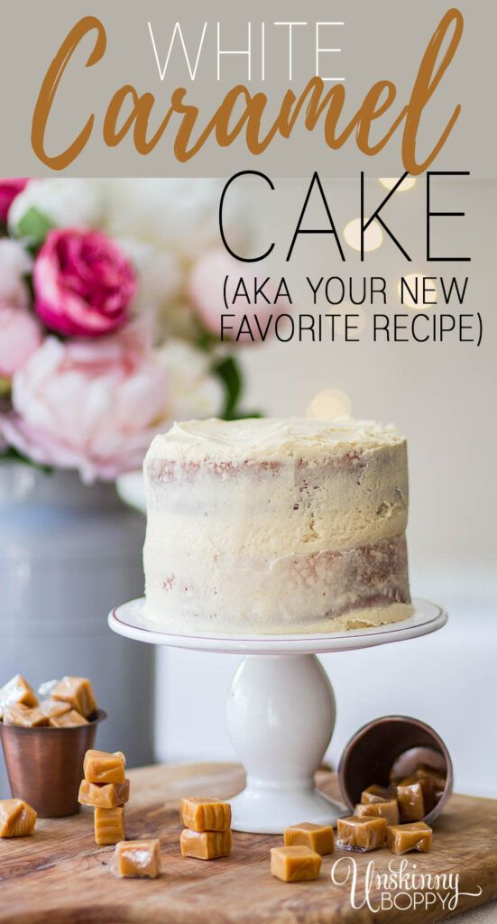 White Wedding Cake With Caramel Icing My Go To Cake Recipe White Wedding Cake Is My Most Favori Doctored Cake Mix Recipes Caramel Cake Recipe Sour Cream Cake