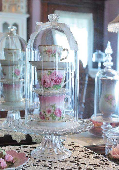 Shabby chic shabby chic pinterest campanas vidrio y - Vajilla shabby chic ...