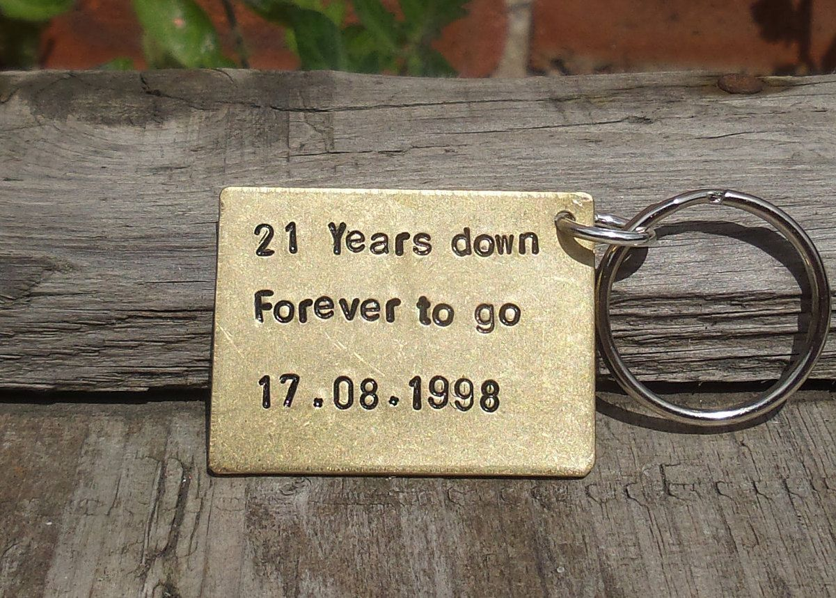 21st wedding anniversary keyring personalised date husband