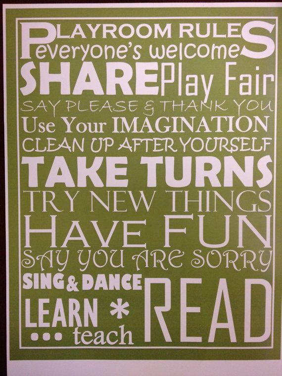 Custom Modern Personalized Playroom Rules Word Art
