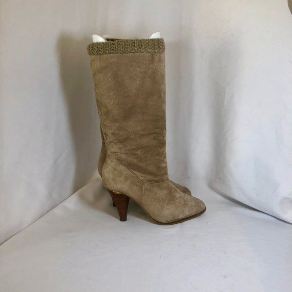 4bca8e30ce238 Sz 10 M Vintage Tall Taupe Genuine Suede/Leather 1980s Candies Women ...