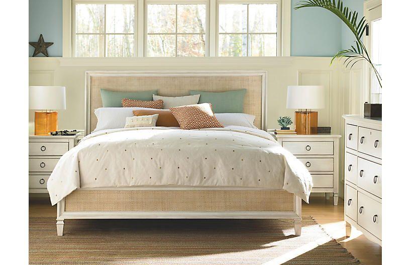 Hailey Bed Cream Rattan Beach Bedroom Furniture Home Bedroom Universal Furniture