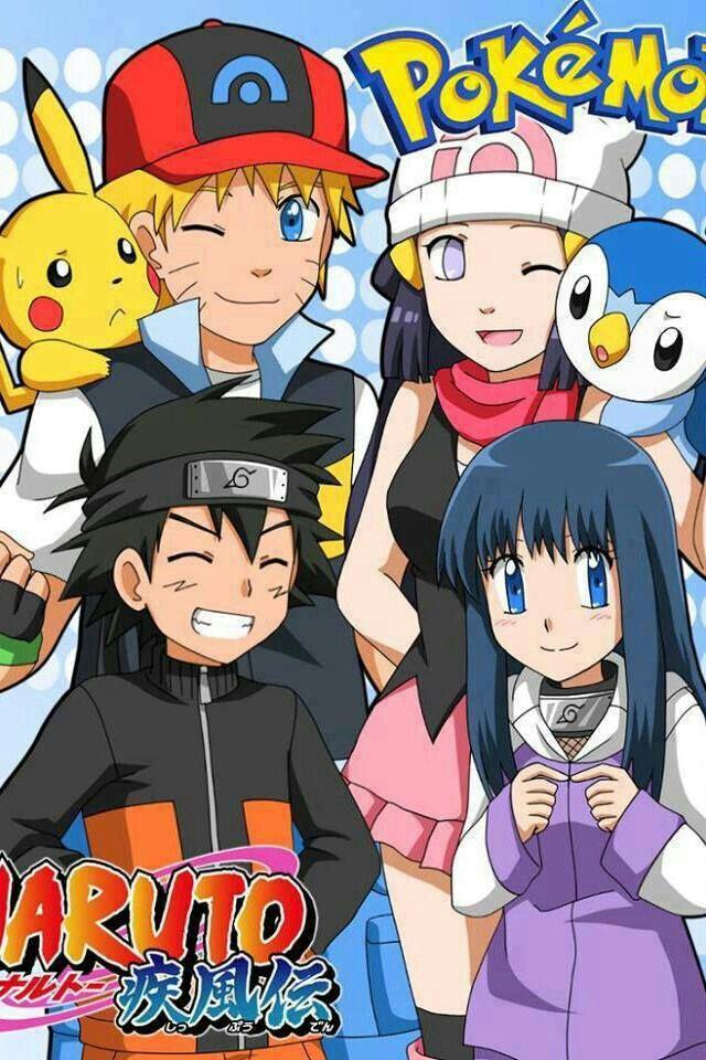 Pokemon, Naruto, crossover, Hinata, Ash Ketchum, Dawn, Pikachu