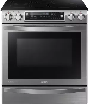 Samsung Ne58h9970ws 30 Inch Slide In Induction Range With Flex Duo Dual Convection Virtual Flame Easy To Clean Induction Cooktop 5 8 Cu Ft Oven Capaci Induction Range Induction Stove Single Oven