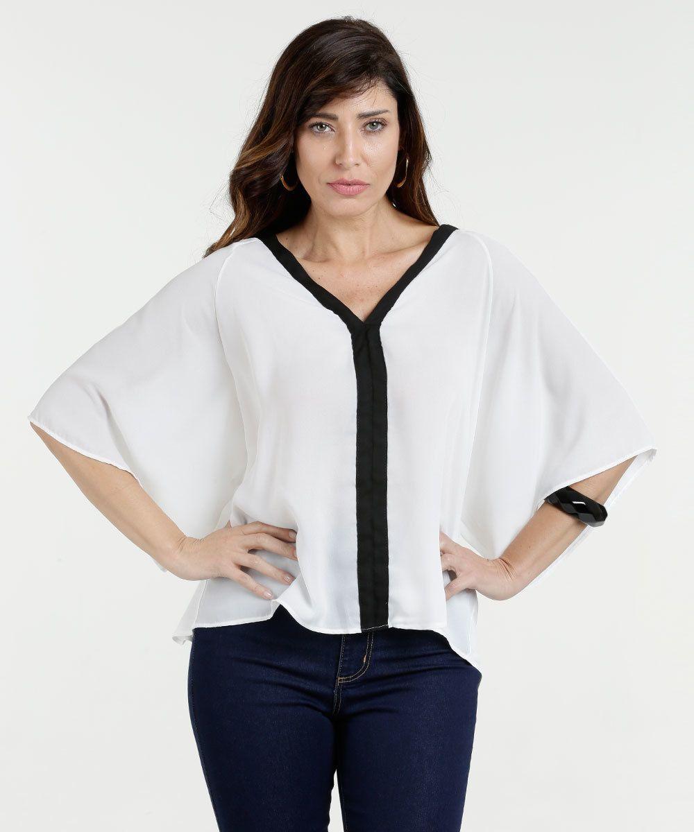 60e547da0 Blusa Feminina Bicolor Manga 3/4 Morcego | moda | Blouse, Shoulder e ...