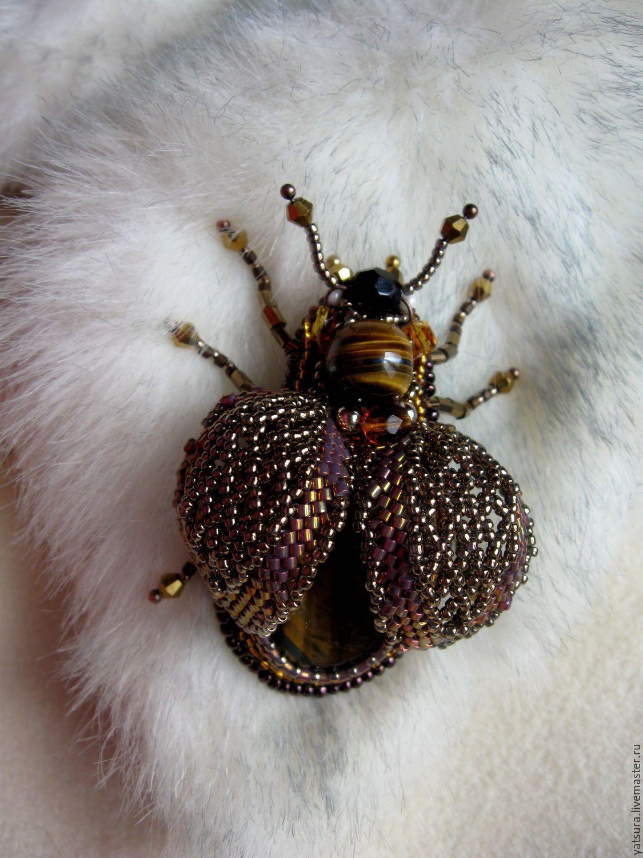 """Купить Брошь жук """"Золотистая бронзовка"""" - брошь, брошь жук, брошь-жук"""