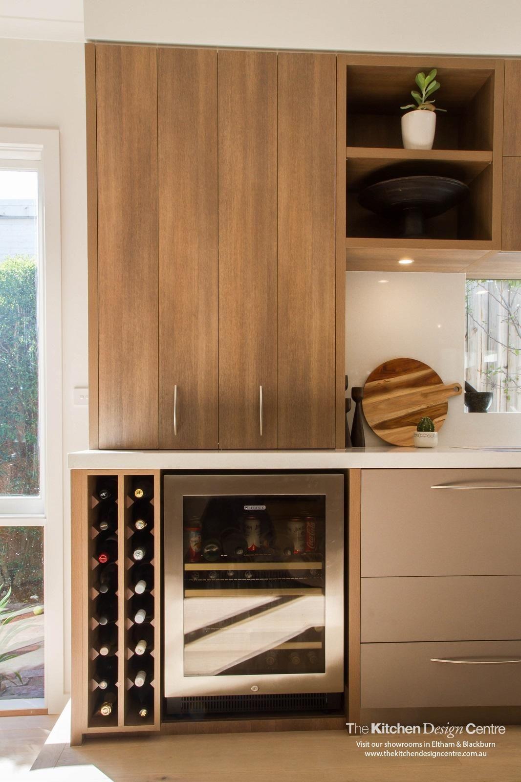 built in wine rack kitchen cabinets drain clog polytec sepia oak ravine storage and