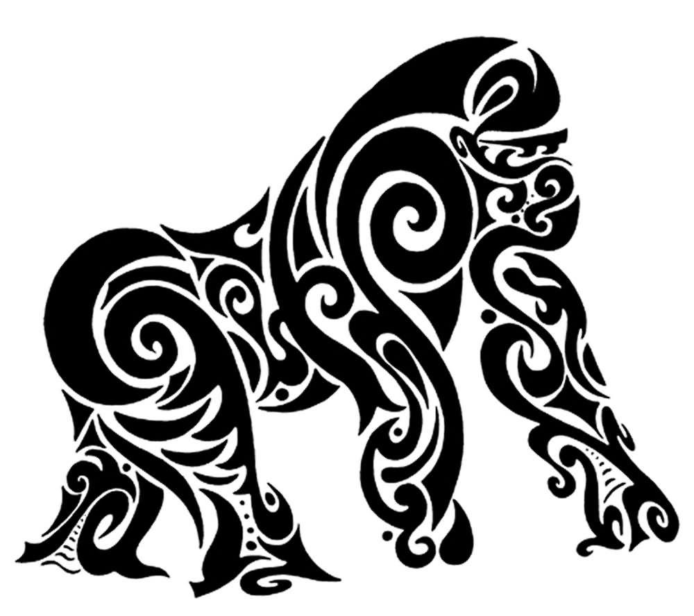9e6850e08 Black Tribal Gorilla Tattoo Stencil | Gorilla | Gorilla tattoo ...