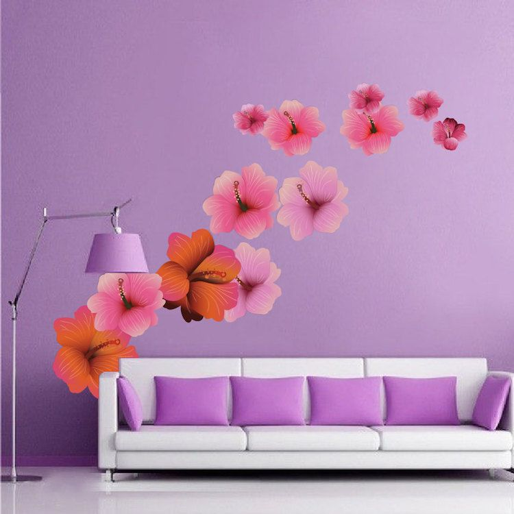 hibiscus flower wall decal - floral wall decal murals - primedecals