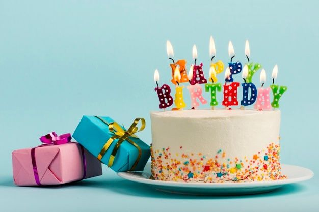 Download Two Gift Boxes Near The Cake With Happy Birthday Candles Against Blue Backdrop For Free Happy Birthday Candles Birthday Cake With Candles Birthday Candles Best cake hd wallpapers