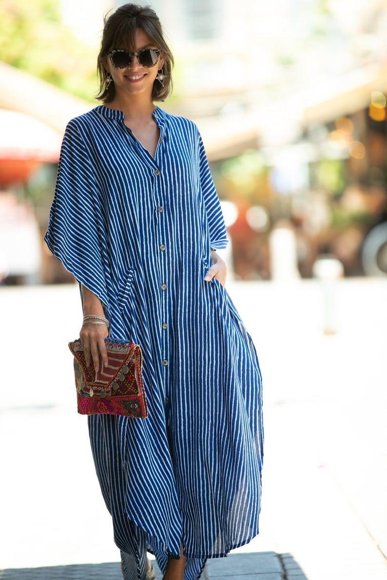Blue White Striped Oversize Kaftan Dress Bohemian Hipster Buttoned Caftan With Pockets Summer Urban Vacation Hippie Plus Size Maxi Dress African Print Fashion Dresses Dresses Kaftan [ 1191 x 794 Pixel ]