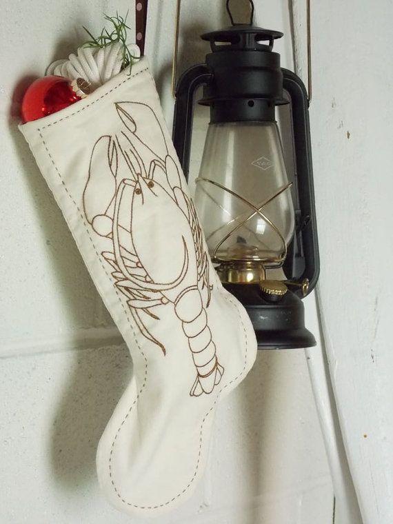 Brown Lobster Christmas Stocking Heirloom by TidewaterShoppe