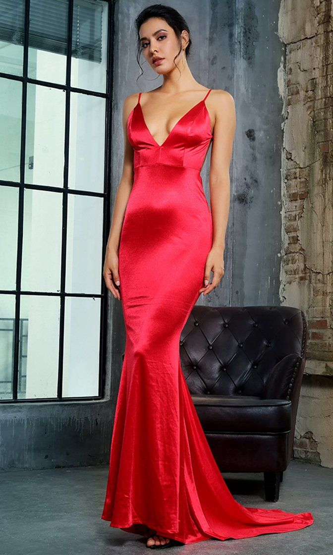 It s My Night Red Sleeveless Spaghetti Strap Plunge V Neck Backless Ru – Indie  XO fc1a8969d