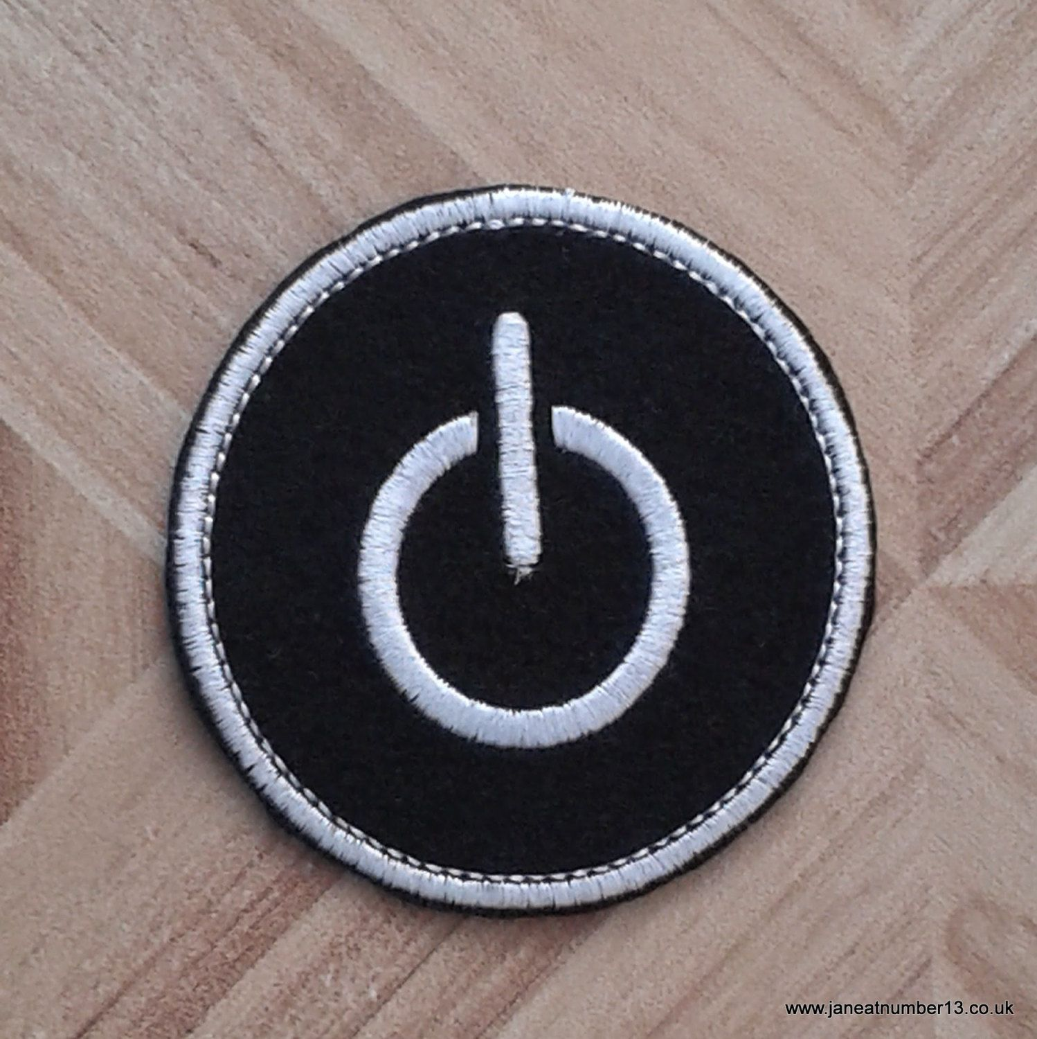 Iron on patch, embroidered patch, patches for jeans, patch for backpack,  power button patch, geek patch, techie patch, black and white patch