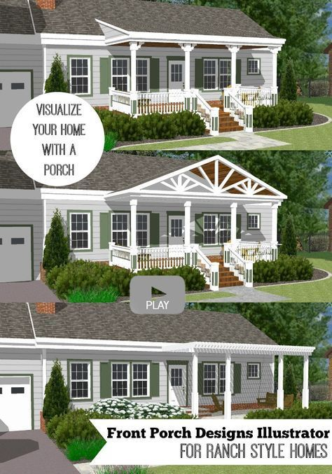 Rear Addition Home Design Ideas Pictures Remodel And Decor: Great Front Porch Designs Illustrator On A Basic Ranch Home Design