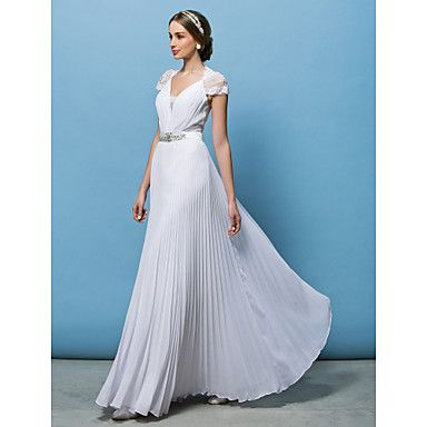 A-line V-neck Floor-length Wedding Dress (Chiffon) - USD $ 139.99