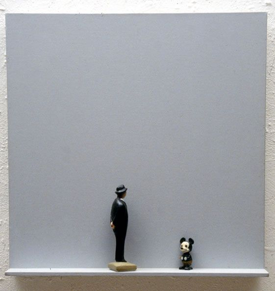 Untitled (with Him) (1995), 26 x 26 x 4 ½, Assemblage on  canvas