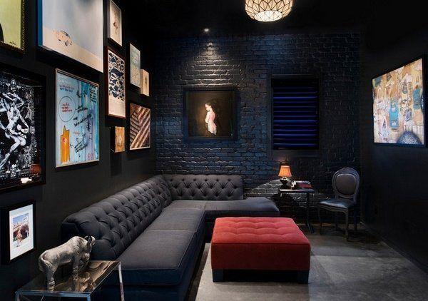Black And Grey Living Room Furniture Ideas Corner Sofa Red Ottoman Photo Wall Studio Interior Cinema Design Black Living Room