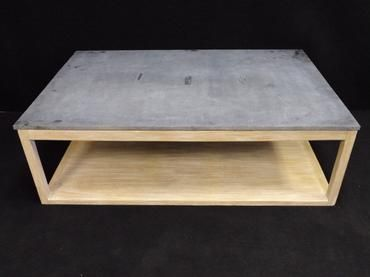 Simple Reclaimed Wood Coffee Table With White Wash Finish And Stone Top  With Open Bottom Shelf