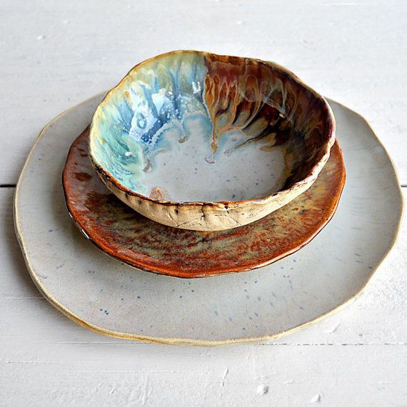 MADE TO ORDER only rustic stoneware pottery dinnerware set handmade dinnerware plates River Journey 3 piece sets & THIS IS ME!!! But alas I can\u0027t afford them. LOVE LOVE LOVE THEM ...