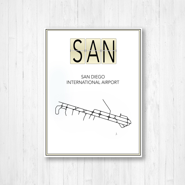 San Diego International Airport Map Print San Diego International