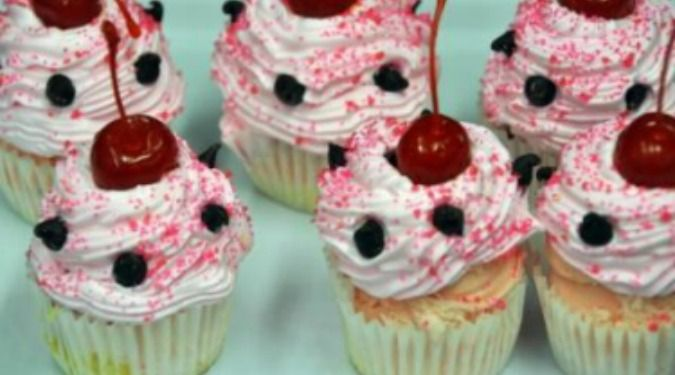 Strawberry chocolate chip chunk ice cream cupcake at Cabot\'s in ...