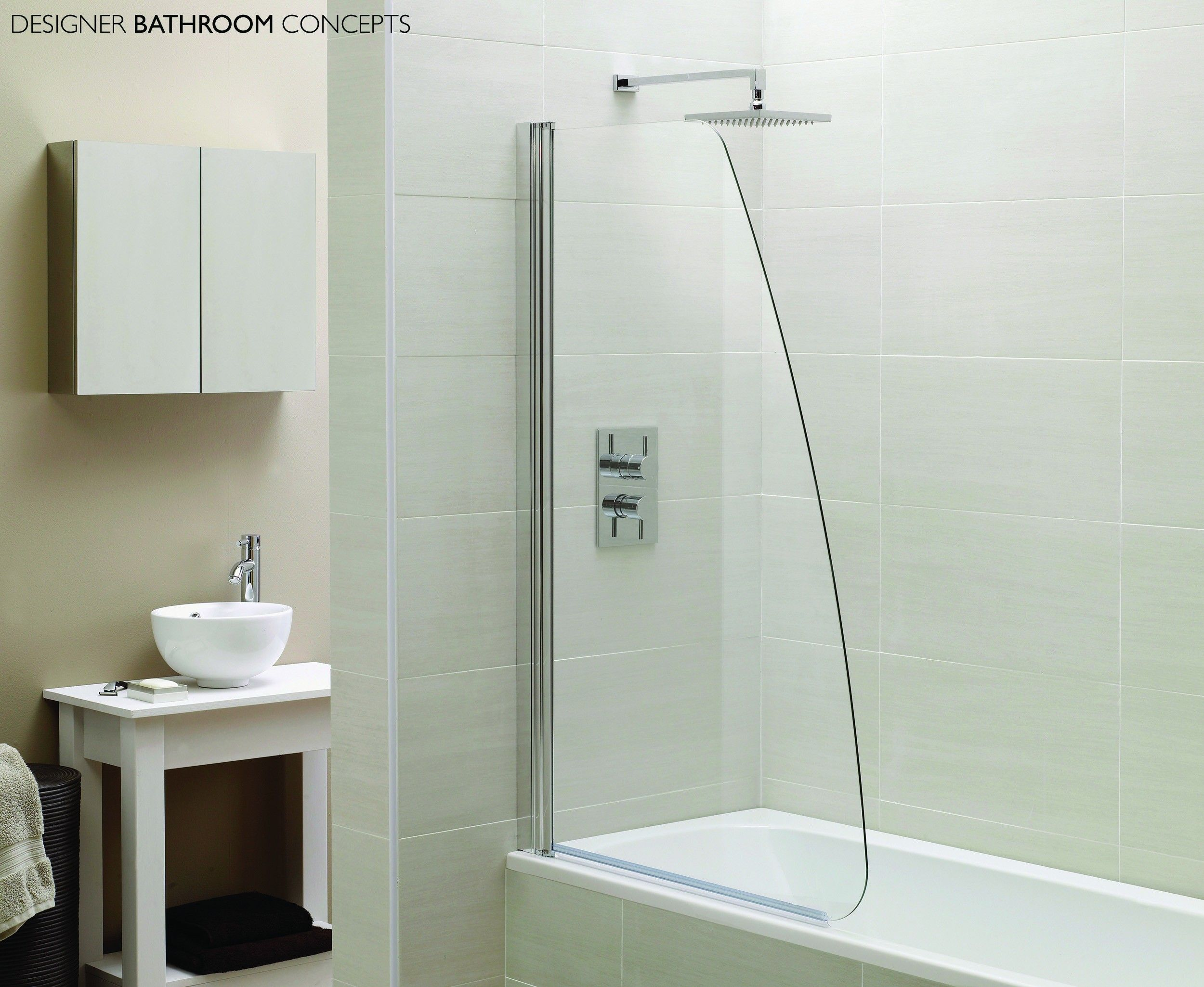 Awe-inspiring Stainless Head Shower With White Ceramic Wall Tiles ...
