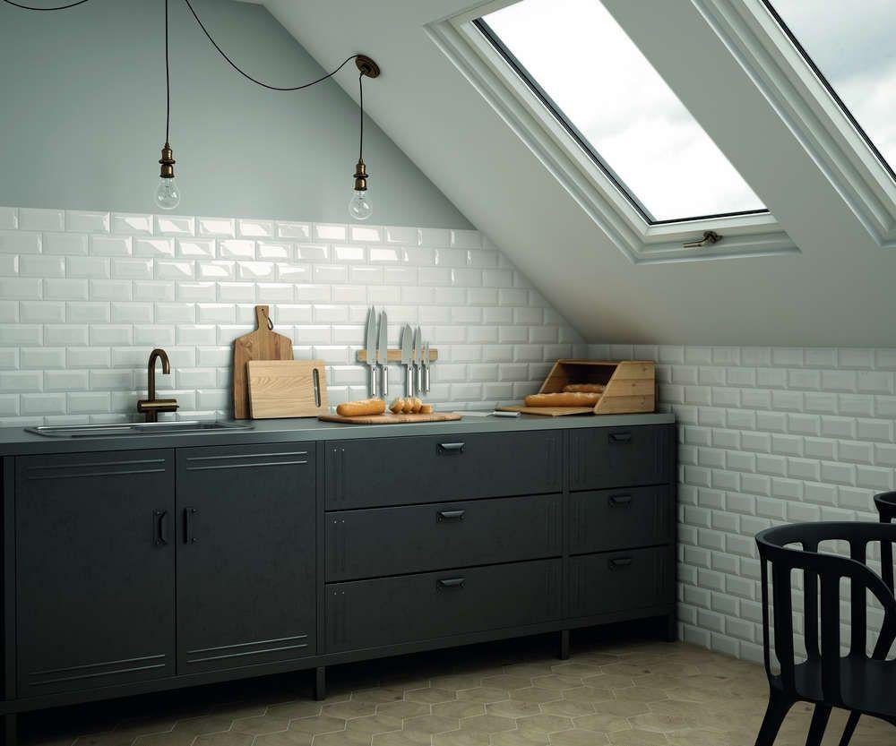 Wandfliese Equipe Metro White Glänzend 7,5x30 Cm | Küche