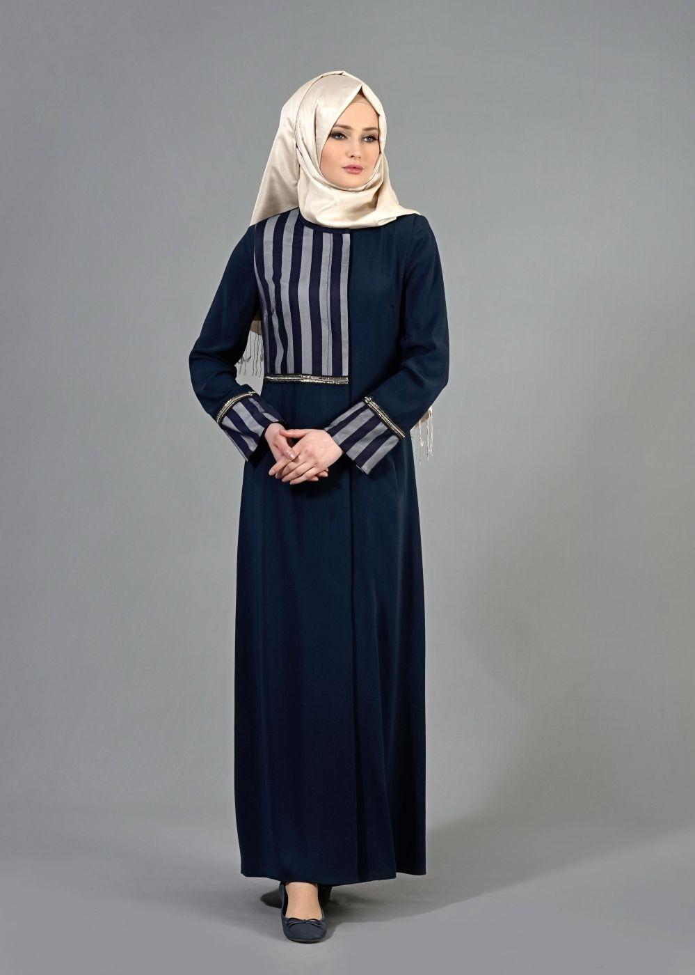 T 1584 Çizgi Detaylı Tesettür Pardesü-Alv Fashion
