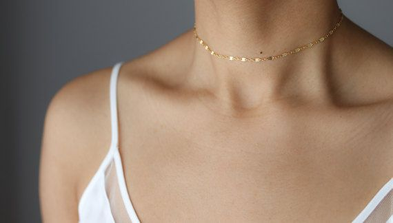 Dainty Gold Shimmer Choker  Gold Chain Choker  Boho Jewelry  Delicate Gold Ch
