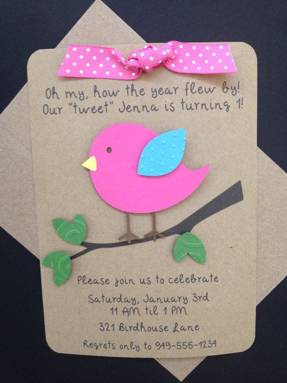Bird Invitations Custom Made for Birthday Baby by SimpleandPosh