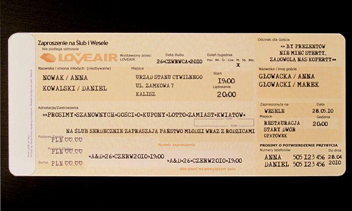 Zaproszenia Slubne Bilet Lotniczy Nowosc 1163359983 Archiwum Allegro Boarding Pass